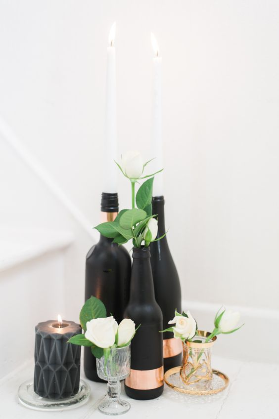 DIY - How to make your own rose gold & black painted bottle centrepiece Photography www.taylorbarnesphotography.co.uk