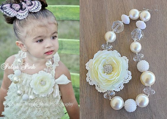 Vintage Pearl little girls Chunky Necklace by PalestPink on Etsy, $35.00