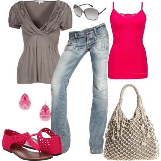 Khaki and Hot Pink: Pink Created, Pink Polyvore, Pink Repin, Pink Excluding, Cute Casual Outfits, Hot Pink, Pink Grey, Pink Freakin, Pink Cake