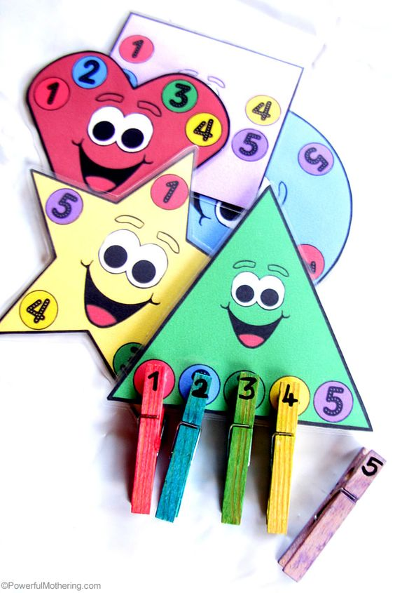 A great addition to a busy bag collection or just a quick activity for fine motor skills. This printable activity features colors, shapes and counting! from PowerfulMothering.com: