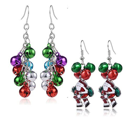 Silver Snowflakes and Red Jingle Bell Chandelier Christmas Earrings