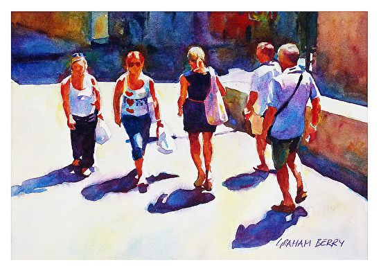 """Coming and going by Graham Berry Watercolor ~ 8"""" x 12"""""""
