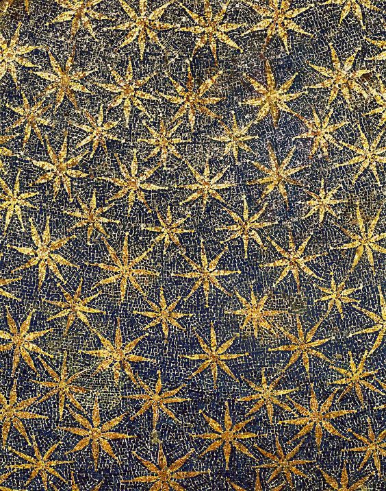Mosaic stars on the ceiling of the vault, Mausoleo di Galla Placidia, Ravenna, Italy (mid 5th century):