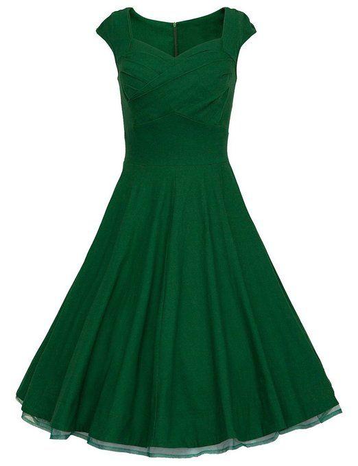 Dresstells 50er Retro Audrey Hepburn Schwingen Pinup Polka Dots Rockabilly Kleid Green M