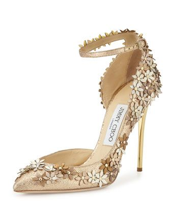 Lorelai Glittered Applique Half-d\'Orsay Pump, Champagne by Jimmy Choo at Bergdorf Goodman.