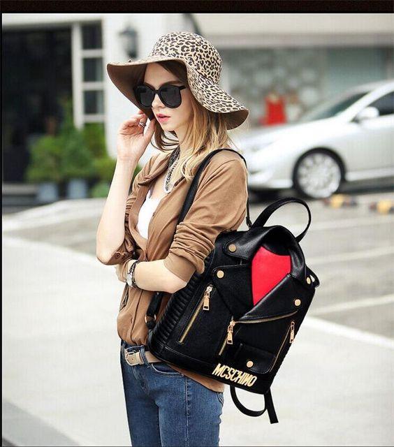 Women's Lady clothes' shape Bookbag Travel Leather Kids School Bag ...