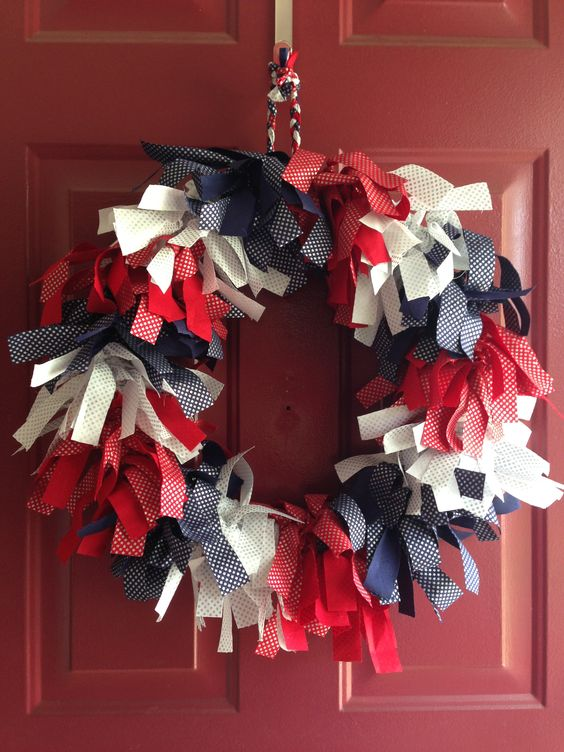 Summer wreath in red white and blue.