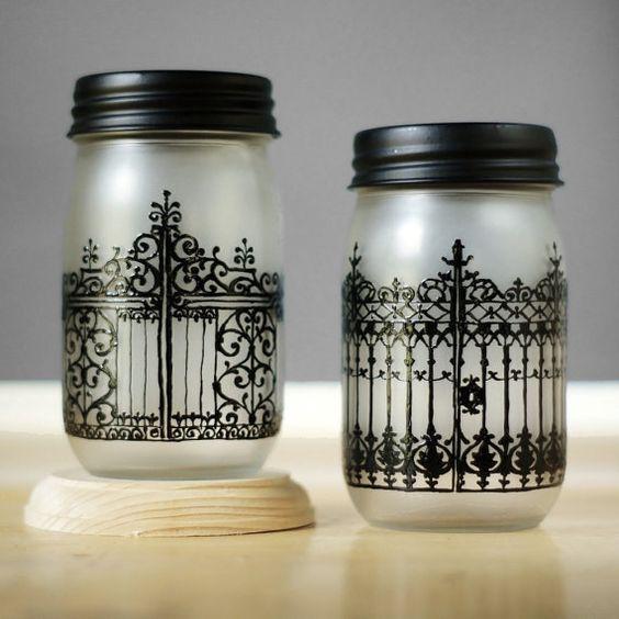 Cancello in ferro Charleston ispirato lanterne barattolo di