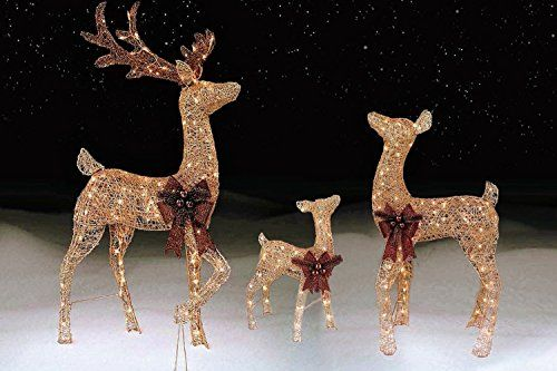 42 Inch Gold Doe Lighted Deer Yard Decor Reindeer Christmas Decoration 48 Inch Buck Christmas Reindeer Decorations Christmas Yard Decorations Lawn Decor