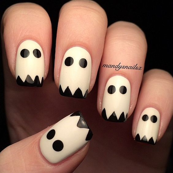 20 Cool Halloween Look For Short Nails Super Cool Ghosts Nails Glitter Pumpkin Nails Matte Halloween Nails Easy Halloween Nail Art Easy Halloween Nails Diy