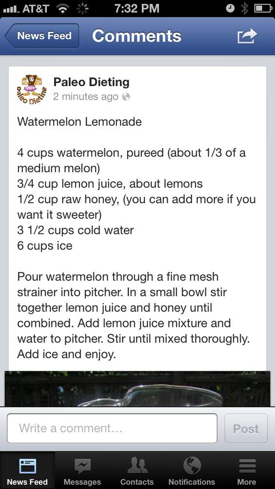 Paleo watermelon lemonade