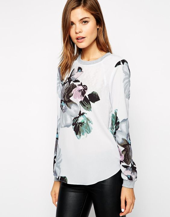 {Warehouse Oversized Floral Sweat Top - under $100}