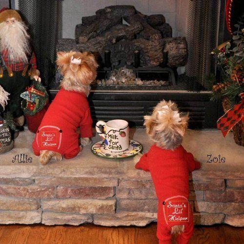 Santas Lil Helper Dog Pet Christmas Embroidered Cotton Pajamas All Sizes