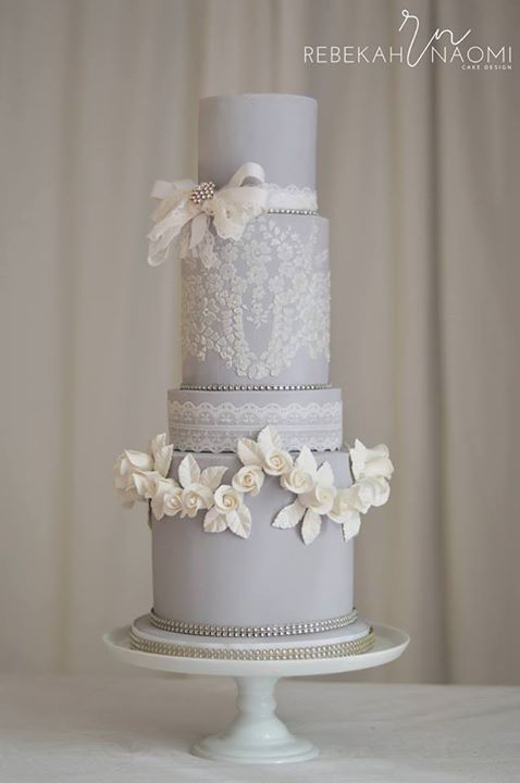 Soft dove grey with a romantic rose swag border on this #cake by Rebekah Naomi Cake Design #home #sweethome #bathroom #decor #design