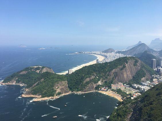 Visão da praia de Copacabana no morro Pão de Acúcar.