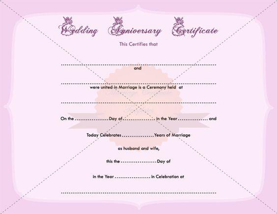 Wedding Anniversary Certificate Printable Template - anniversary certificate template