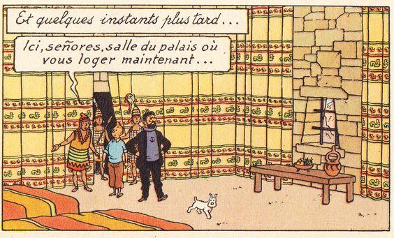 Chambre au temple du soleil - Le temple du soleil - Tintin - Hergé