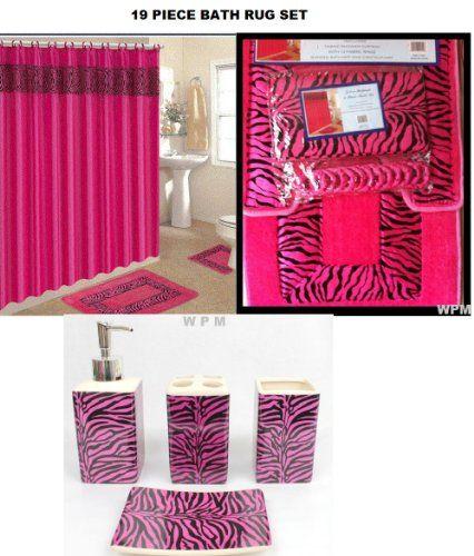 Bathroom Rugs And Accessories Youtube: 19 Piece Bath Accessory Set Pink Zebra Bathroom Rugs