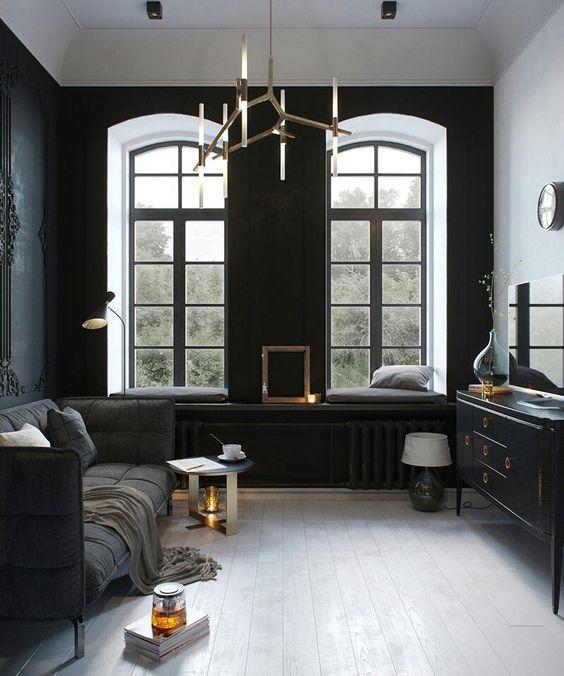 Russian Designer Tatiana Shishkina's 24×24m loft apartment - black neoclassical walls mixed with copper, glass, iron, oak and various shades of greys