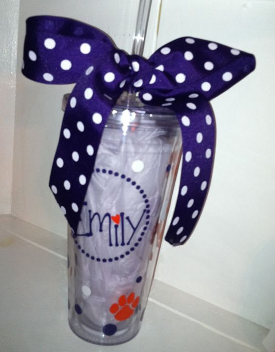 A very preppy Clemson tumbler with name, paws, and ribbon!  Great gift!! $18