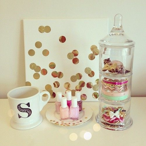 diy kate spade inspired decor, monogram mug, nail polish in a dish