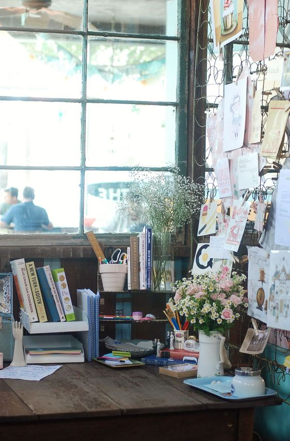 Inspiration or organisation board from old spring mattress  in BACK IN THE DAY BAKERY from A BEAUTIFUL MESS