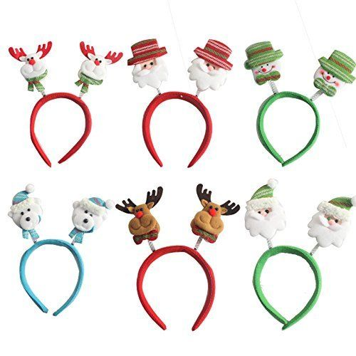 Kingzhuo 6 Sets Of Cute Assorted Christmas Head Boppers Christmas Hair Accessory He Christmas Hair Accessories Christmas Decorations Hair Accessories Headbands
