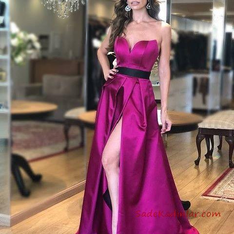 2020 Saten Elbise Modelleri Fusya Uzun Straplez Kemerli Derin Yirtmacli Aksamustu Giysileri Uzun Mezuniyet Elbisesi The Dress