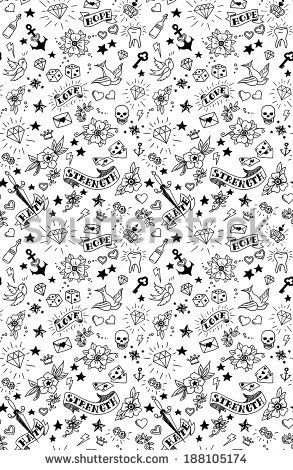 old school tattoos elements pattern, vector illustration by Ms.Moloko, via Shutterstock