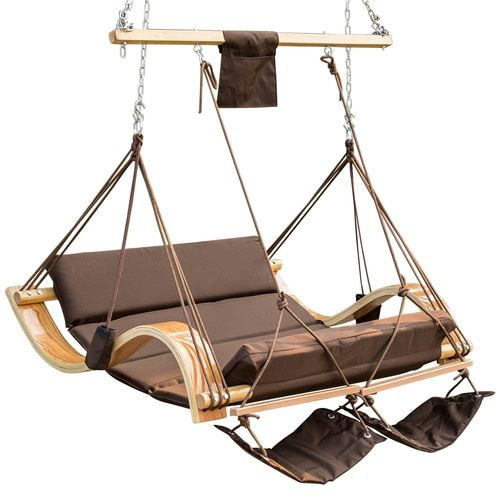 Patio Garden Outdoor Deluxe Oversized Double Hanging Hammock Lounger Chair With Cup Holder Footrest Ha Swinging Chair Hanging Hammock Chair Hammock Swing Chair