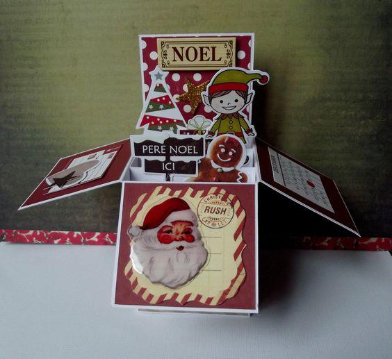 """Carte pop up """" Joyeux Nöel """" - lutin - sapin - 3D + enveloppe : Cartes par creations-carterie"""