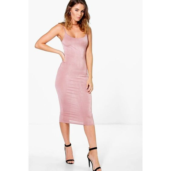 Boohoo Night Amy Slinky Strappy Bodycon Dress ($20) ❤ liked on Polyvore featuring dresses