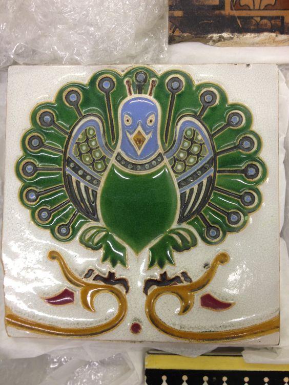Christopher Dresser peacock tile