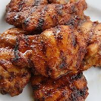 Grilled Spicy Honey Chicken: sear for 5 min a side on high. move to indirect heat for 45-50 minutes (to internal temp of 165*), then glaze and put back on direct heat 5 minutes, flip, glaze again, wait 5 min. (I doubled ingred. for rub and added 1/2 cup brown sugar, then I also added some Masterpiece Caribbean Lime bbq to honey glaze instead of vinegar)