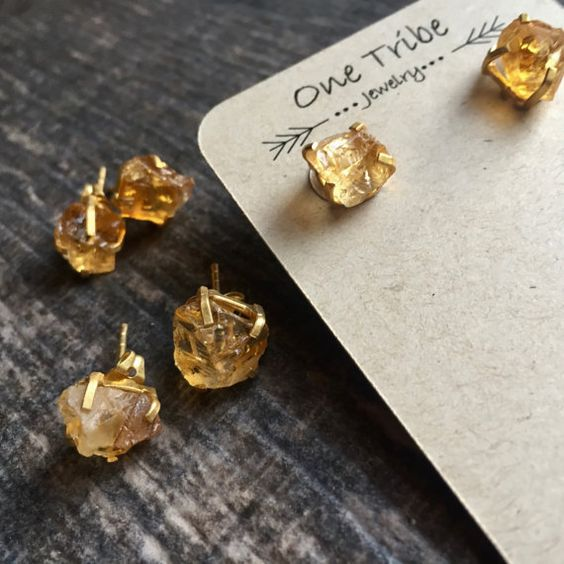 Citrine Stud Earrings Gold,Citrine Earrings,Citrine Studs,Raw Stone Studs,Dainty Citrine,Citrine Gold Earrings,November Birthstone,Boho Stud