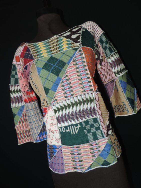 trapunta di rappezzatura boho maglione 70s hippie di cricketcapers