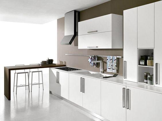 Cucina moderna bianco opaco con penisola rovere moro for Cappa cucina moderna
