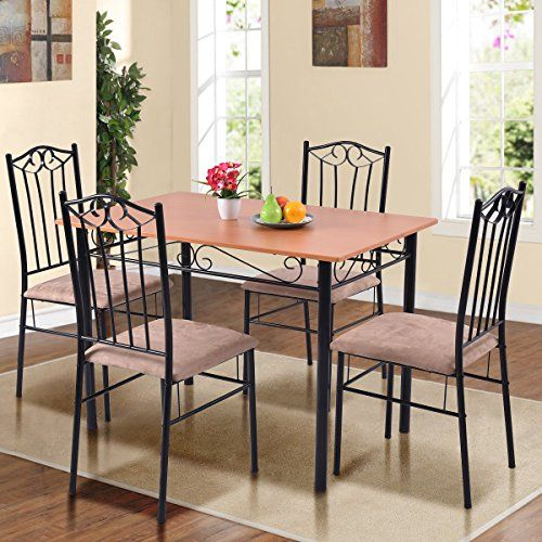 Tangkula 5 Pcs Dining Set Modern Wood Metal Dinette Kitchen Breakfast Furniture Table And Chairs Set Wood Dining Room Metal Dining Table Dining Furniture Sets
