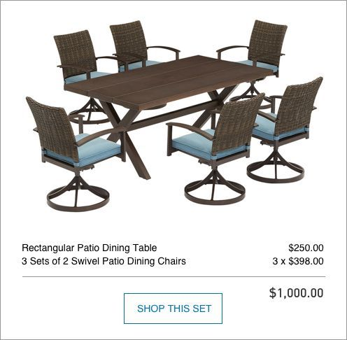 7 Piece Patio Set With 6 Swivel Chairs And Rectangle Table And Blue Cushions With Images Furniture Blue Cushions Patio Set