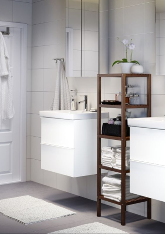 Neutral colors and clean lines create a peaceful bathroom - especially when the cabinets and storage give you a place for everything! Click to find more IKEA ideas!
