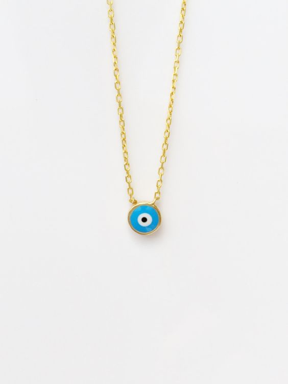 eye sale, eye necklace, evil eye necklace, protection jewelry, tiny necklace, layering necklace, eye jewelry, gold evil eye by LuckyCharmsUSA on Etsy