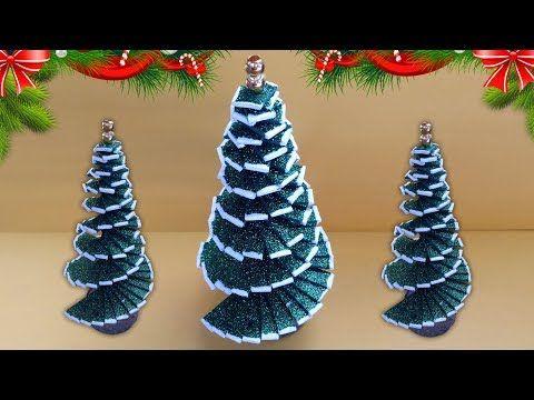 Diy Christmas Tree Decor How To Make Mini Tabletop Trees Handmade Glitter Foam Sheet Craft Idea In 2020 Diy Christmas Tree Foam Christmas Ornaments Foam Sheet Crafts
