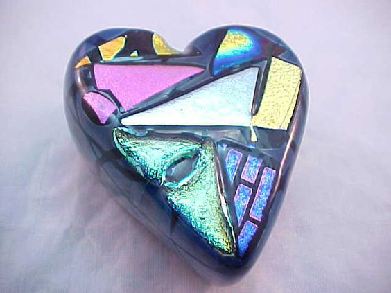 Fabulous Studio Dichroic Art Glass Heart Paperweight | eBay