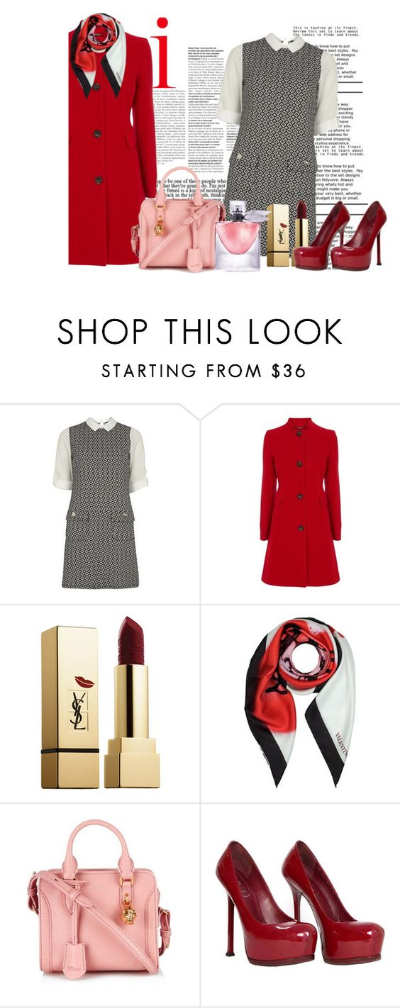 """2749. Red Rose"" by skyeblossom ❤ liked on Polyvore featuring Dorothy Perkins, Coast, Yves Saint Laurent, Valentino, Alexander McQueen and Lancôme"