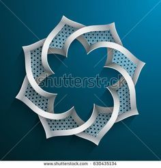 Abstract 3d Round Shape With Islamic Design On Blue
