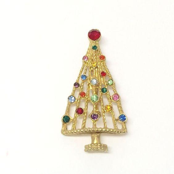 Vintage Gold Tone Rhinestones Christmas Tree Pin Brooch
