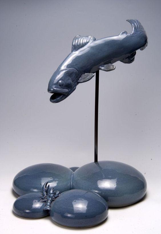 Ceramic fish sculpture objets d 39 tag re pinterest for Ceramic fish sculpture