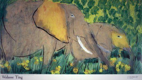 "Elephants (sm) by Walasse Ting 13.5""x26"" Art Print Poster by Rare Posters, http://www.amazon.com/dp/B00AP5TEO8/ref=cm_sw_r_pi_dp_GSAvsb02DMDXM"