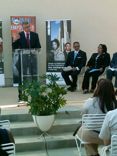 Tyson CEO Donnie Smith addresses the crowd as we kick off the Urban League -Tyson Foods Hunger Project in Jackson, Miss.