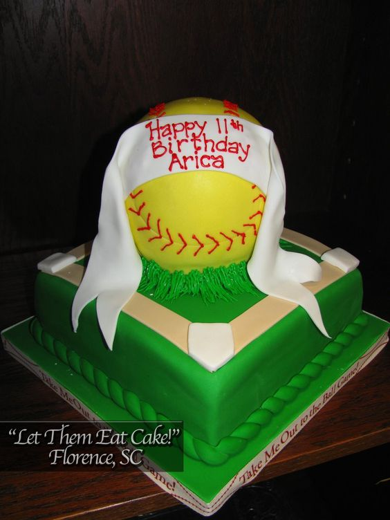 softball cakes   Softball Birthday Cake – Let Them Eat Cake!   Let Them Eat Cake!